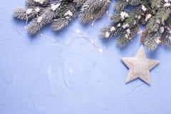Звезда рождества, дерево меха ветвей и fairy света на голубом te Стоковое фото RF
