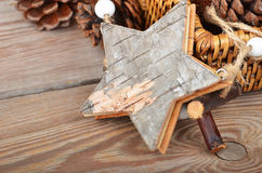 Звезда рождества деревянная Стоковые Фотографии RF