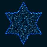 Звезда рождества накаляя голубая красочная шестиугольная иллюстрация штока