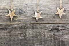 Звезда рождества на выдержанной деревянной доске Стоковое фото RF