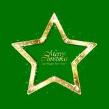 Звезда рождества на зеленой предпосылке Стоковое Фото