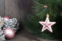 Звезда рождества на рождественской елке Стоковая Фотография RF