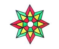 Звезда цветного стекла изолированная на белой предпосылке Стоковое Фото