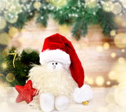 звезды абстрактной картины конструкции украшения рождества предпосылки темной красные белые Снеговик в шляпе santa Стоковое Изображение