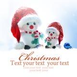 звезды абстрактной картины конструкции украшения рождества предпосылки темной красные белые Снеговик 2 в шляпе santa Стоковое Изображение
