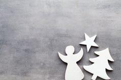 звезды абстрактной картины конструкции украшения рождества предпосылки темной красные белые Белые украшения дерева на сером backg Стоковые Фотографии RF