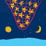 Звезды в сети, солнце и луне на ночном небе Стоковые Фото