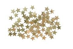 Звезды золота Confetti изолированные на белой предпосылке Стоковое Фото