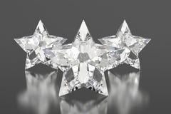 Звезды диамантов на серой предпосылке Стоковое Фото
