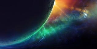 Звезды и галактики в космическом пространстве показывая красоту космоса бывшую Стоковая Фотография RF
