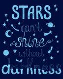 Звезды консервируют блеск ` t без темноты Вдохновляющая цитата Стоковое фото RF