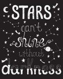 Звезды консервируют блеск ` t без темноты Вдохновляющая цитата Стоковое Изображение RF