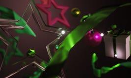 Звезды орнамента рождества стеклянные на темной предпосылке Стоковое Изображение RF