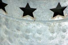3 звезды отрезали вне в жестяной коробке с горизонтальной Стоковое фото RF