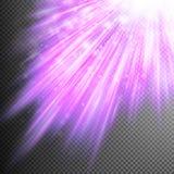 Звезды падают на пурпуровые светящие лучи 10 eps Стоковые Изображения