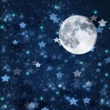 Звезды рождества и предпосылка луны иллюстрация вектора