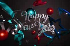 Звезды счастливого орнамента текста Нового Года стеклянные на темной предпосылке Стоковая Фотография RF