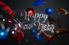 Звезды счастливого орнамента текста Нового Года стеклянные на темной предпосылке Стоковое Фото