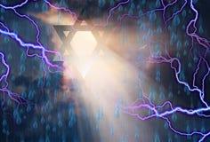 Звезды Дэвида в небе Стоковая Фотография