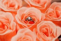 Звените с самоцветом в розовом розовом цветении стоковые фотографии rf