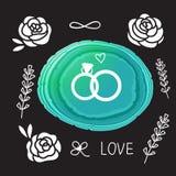 Звенит карточка свадьбы Камень иллюстрации вектора яркий плоский кусок Стоковая Фотография RF