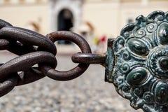 Звенья цепи нержавеющей стали металл предпосылки промышленный Стоковое Изображение