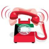 Звеня красный неподвижный телефон с роторной шкалой и с флагом Кувейта Стоковое фото RF