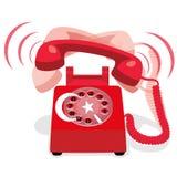 Звеня красный неподвижный телефон с флагом Турции также вектор иллюстрации притяжки corel Стоковое Изображение