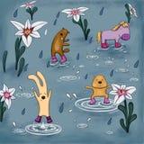 Звери танцуя в дожде в резиновых ботинках иллюстрация штока