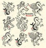 звери heraldic также вектор иллюстрации притяжки corel Стоковое Изображение