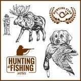 Звероловство лося, охотничья собака логотипа звероловства с дикой уткой в его зубах и элементах дизайна иллюстрация вектора