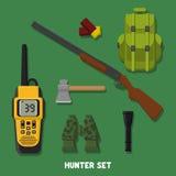 звероловство Комплект деталей охотника Иллюстрация вектора, плоская, стиль шаржа Иллюстрация вектора