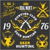 Звероловство оленей Комплект дизайна логотипа ярлыков значков Стоковые Изображения RF