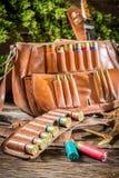 Звероловство патронной ленты и сумки стоковое изображение