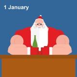 Зверский Санта Клаус на баре Сильный дед с пивной бутылкой Стоковое фото RF