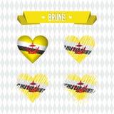зверюг Собрание 4 сердец вектора с флагом Силуэт сердца иллюстрация вектора