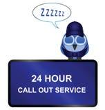 24 звонок вне обслуживает знак Стоковая Фотография