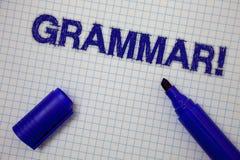 Звонок грамматики текста почерка мотивационный Система смысла концепции и структура правил сочинительства языка придали квадратну Стоковое Фото