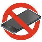 Звонок кроме Запрет мобильного телефона Vector строгий запрет на использовании телефона, цифровая таблетка запретите иллюстрация вектора