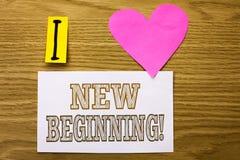 Звонок нового начала текста сочинительства слова мотивационный Концепция дела на жизнь роста формы нового старта изменяя написанн стоковое изображение