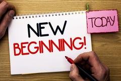 Звонок нового начала текста сочинительства слова мотивационный Концепция дела на жизнь роста формы нового старта изменяя написанн стоковая фотография rf
