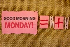 Звонок понедельника доброго утра сочинительства текста почерка мотивационный Концепция знача джут завтрака счастливой позитивност Стоковая Фотография