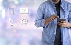 Звонок Custo США КОНТАКТА (люди горячей линии работы с клиентом СОЕДИНЯЮТСЯ) Стоковая Фотография RF