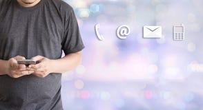 Звонок Custo США КОНТАКТА (люди горячей линии работы с клиентом СОЕДИНЯЮТСЯ) Стоковые Изображения RF