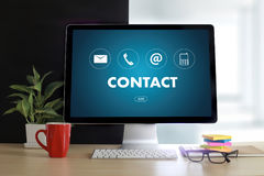 Звонок Custo США КОНТАКТА (люди горячей линии работы с клиентом СОЕДИНЯЮТСЯ) Стоковое Изображение