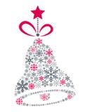 Звон колокол рождества снежинок Стоковая Фотография RF