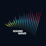 Звуковая война концепции логотипа музыки, тональнозвуковая технология, абстрактная форма Стоковое фото RF