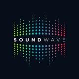 Звуковая война концепции логотипа музыки, тональнозвуковая технология, абстрактная форма Стоковое Изображение