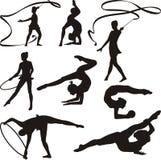 Звукомерная гимнастика - силуэты иллюстрация вектора