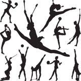 Звукомерная гимнастика с шариком и конусы silhouette вектор Стоковая Фотография